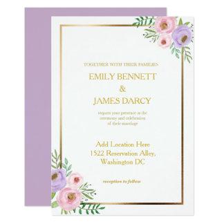 Convite cor-de-rosa e roxo floral