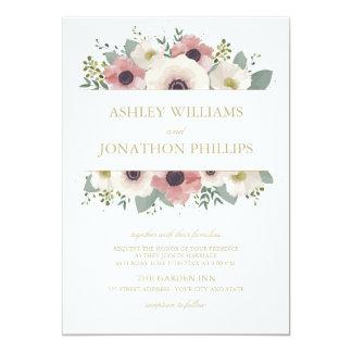 Convite cor-de-rosa empoeirado do casamento do
