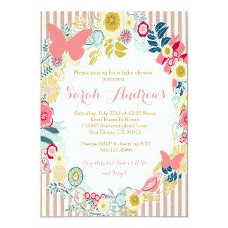 Convite cor-de-rosa floral da menina do chá de