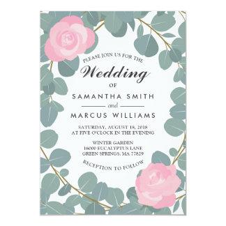 Convite cor-de-rosa floral do casamento das