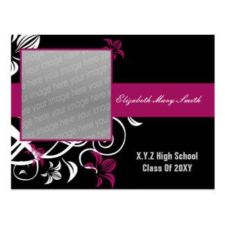 convite cor-de-rosa fúcsia elegante da graduação