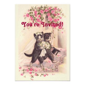 Cartão Convite cor-de-rosa macio dos gatos do casamento