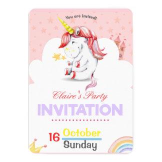 Convite cor-de-rosa personalizado do aniversário