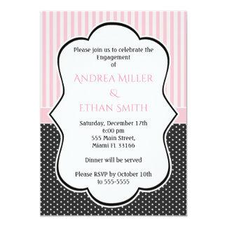 Convite cor-de-rosa preto da festa de noivado das