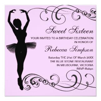 Convite cor-de-rosa & preto do aniversário da