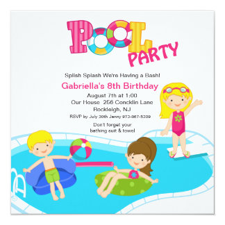 Convite cor-de-rosa quadrado do aniversário das