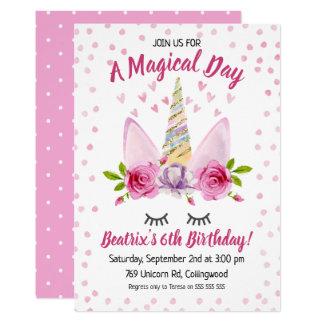 Convite cor-de-rosa roxo do aniversário do