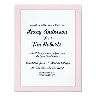 Convite cor-de-rosa simples do casamento do