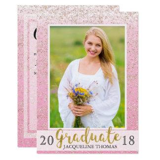 Convite cor-de-rosa Sparkling da graduação da foto