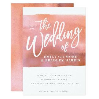 Cartão Convite coral do casamento da aguarela