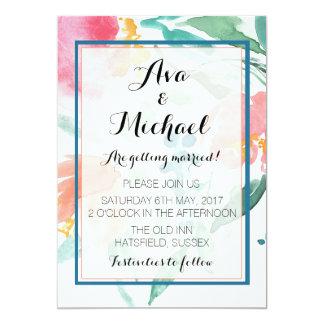 Convite coral do Watercolour do arranjo floral