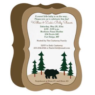 Convite cortado do urso pinheiro rústico