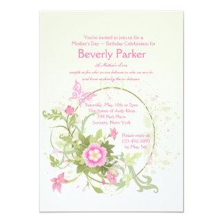 Convite crescente do dia das mães da flor convite 12.7 x 17.78cm