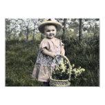 Convite Criança com flores Convite 11.30 X 15.87cm