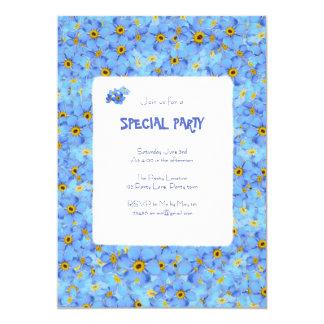 Convite customizável das flores azuis e amarelas