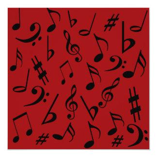 Convite customizável das notas musicais vermelho & convite quadrado 13.35 x 13.35cm