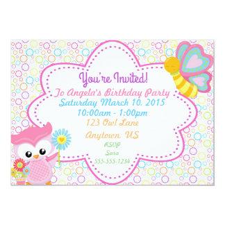 Convite customizável do aniversário da coruja da