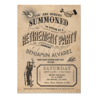 Convite da aposentadoria do juiz - vintage do