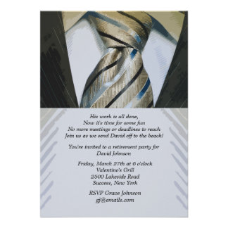 Convite da aposentadoria do terno e do laço