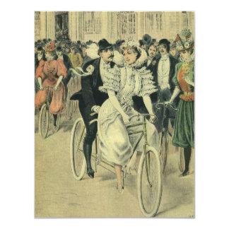 Convite da bicicleta do noivo da noiva do
