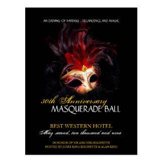 Convite da bola de mascarada cartão postal