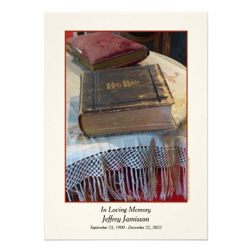 Convite da cerimonia comemorativa, bíblia do