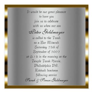 Convite da cerimónia de Mitzvah do bar