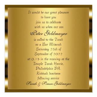 Convite da cerimónia do ouro de Mitzvah do bar