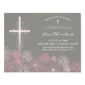 Convite da confirmação - convide com cruz, flores