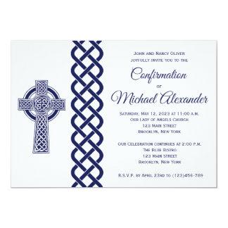 Convite da confirmação da cruz celta para meninos