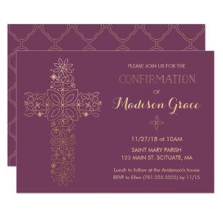 Convite da confirmação da menina com cruz do ouro