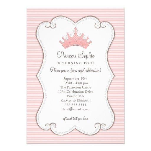 Convite da coroa do rosa da princesa festa de aniv