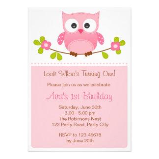 Convite da coruja - primeiro aniversario chá de fr