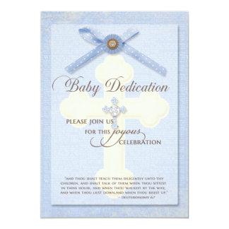 Convite da dedicação do bebê - azul com cruz &