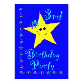 Convite da estrela do partido de aniversário de 3