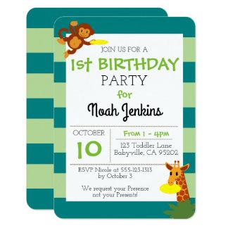 Convite da festa de aniversário 3x5 da selva do