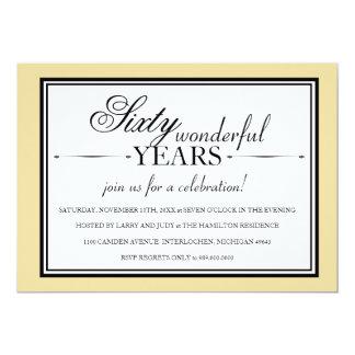 Convite da festa de aniversário de 60 anos convite 12.7 x 17.78cm