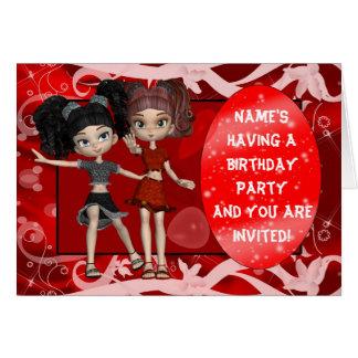 Convite da festa de aniversario de meninas, cartão comemorativo