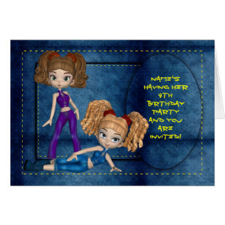 Convite da festa de aniversario de meninas, cartão