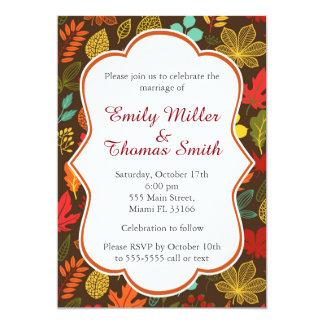 Convite da festa de casamento das folhas de outono