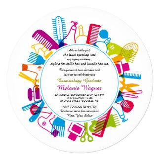 Convite da festa de formatura da escola da beleza