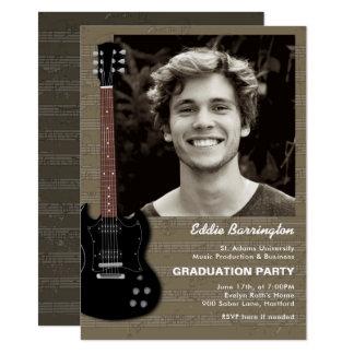 Convite da festa de formatura da foto da guitarra