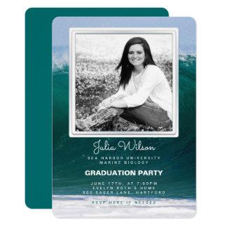 Convite da festa de formatura da foto das ondas de