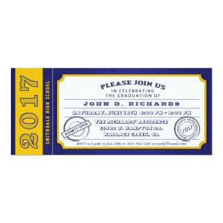 Convite da festa de formatura do bilhete do ouro