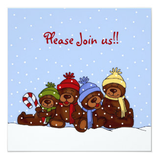 convite da festa de Natal da família de 4 ursos