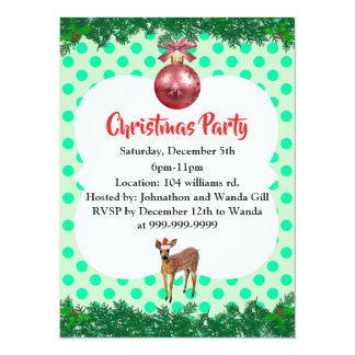 Convite da festa de Natal da jovem corça