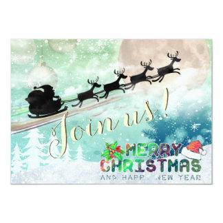 Convite da festa de Natal da rena do trenó do