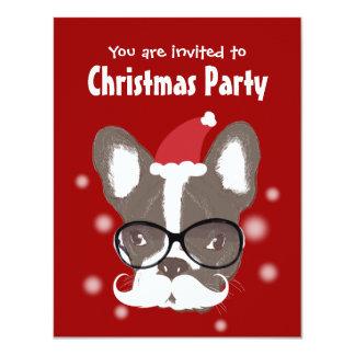 Convite da festa de Natal do buldogue francês do