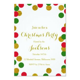 Convite da festa de Natal dos confetes do ouro