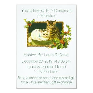 Convite da festa de Natal dos gatinhos do Natal